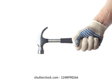 Man holds hammer in hand on white background