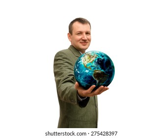 man holds in hand the planet the isolated. Elements of this image furnished by NASA.