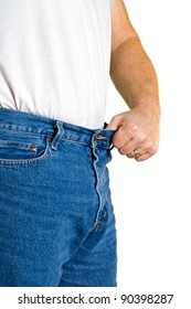 Man holds out waistline with pride after loosing a few pounds