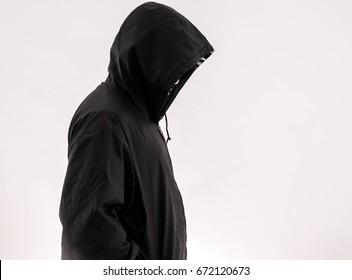 man in hoodie isolated on white background