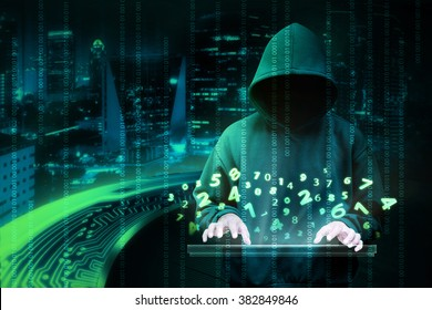 Man in hoodie shirt is hacker. Computer security concept