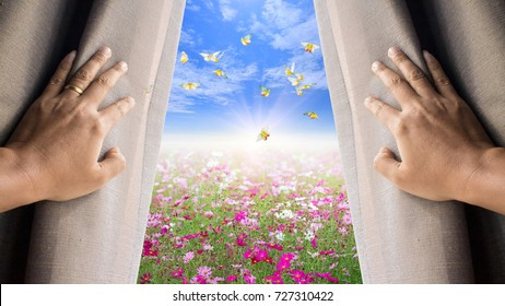 Man and hope concept . man opening window curtains and seeing the flower field