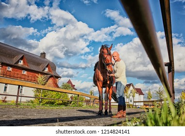a man with a horse  on the road