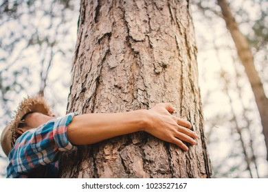 Man hug big tree color of hipster tone selective soft focus, concept nature and people protect environment