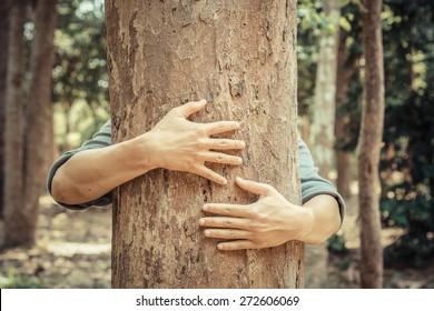 man hugging a big tree - love nature concept