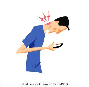 Man hurting his neck bending over his smart phone