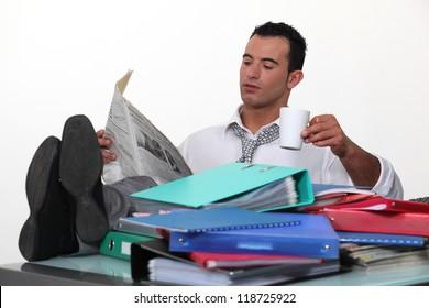 Man ignoring his work