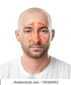 Man with illustration of paranasal sinus on white background. Asthma concept
