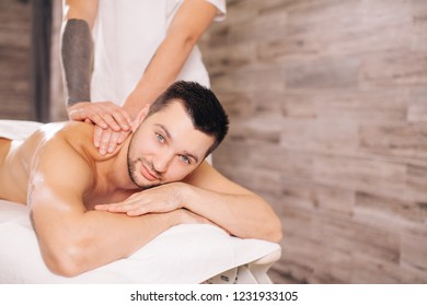 man improving health in the health resort. close up photo. copy space