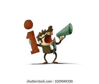 Man with the information sign in one hand and in the other a megaphone for which he is shouting. Isolated