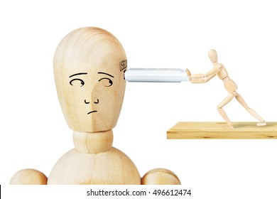 Man inserts USB drive in another human head. Abstract image with wooden puppets