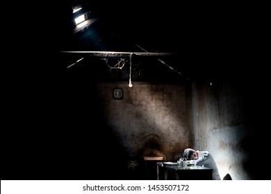 The man inside dark room