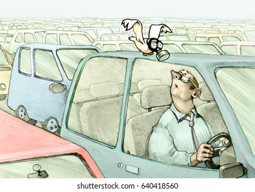 Man inside his car bottled in traffic sees a bird with a gas mask