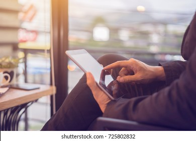 Man with Internet marketing e-commerce, online banking payment, and VOIP voice over internet technology on mobile smart phone device app  digital computer communication service security on tablets pc