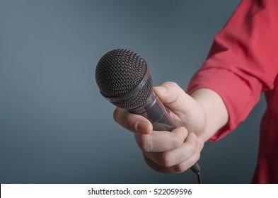 Man Interviews. Selective focus.