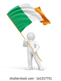 Man and Irish flag (clipping path included)