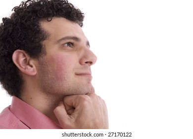 man isolated over a white background