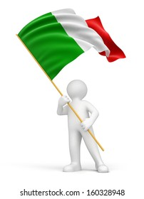 Man and Italian flag (clipping path included)