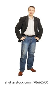 Man in a jacket and dark blue jeans