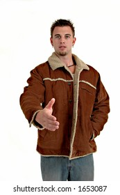 Man in jacket extending hand to shake