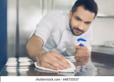 Man japanese restaurant chef working in the kitchen