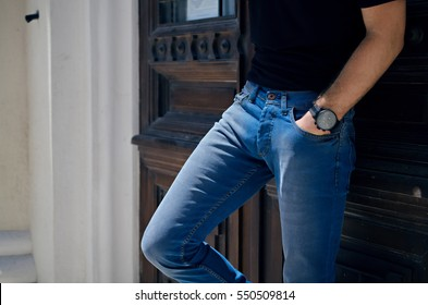 Man with jeans trousers isolated background