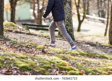 man jogging in forest park. close up of legs and sneakers.