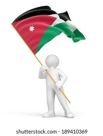 Man and Jordan flag (clipping path included)