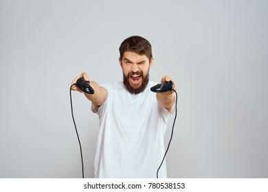 man, joystick, play station