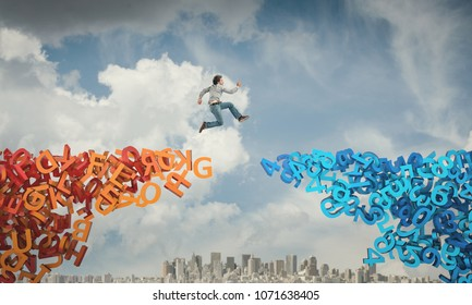 man jump from letters bridge to numbers abstract image