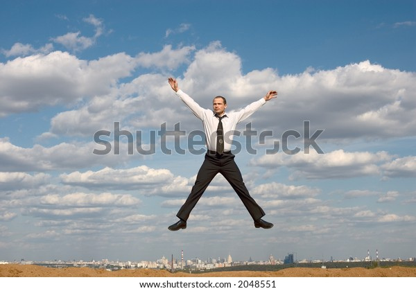 The man jumping in the air