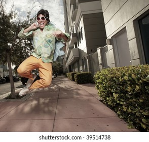 Man jumping and clicking his heels together
