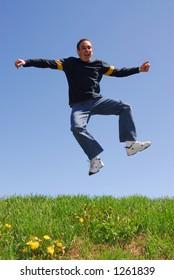 Man jumping in joy