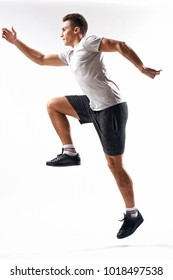 man jumping on a light background, sports