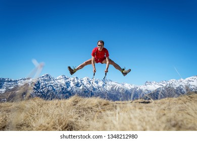 Man jumping on the mountains