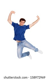 man jumping on white background