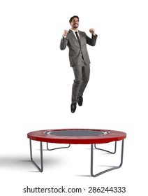 Man jumps on a trampoline increasingly top