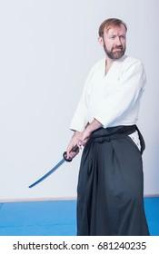 A man with katana practice Iaido