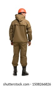 Man in khaki work clothes rearview