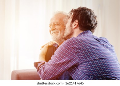 man kiss elder, son greeting meeting old man for love grandfather in Respect for the Aged Day