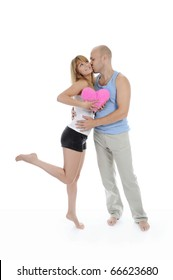 man kisses a woman. Isolated on white background