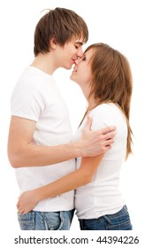 Man kissing woman. Young attractive couple  Young attractive couple