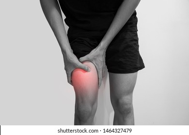 Man with knee pain over Gray background