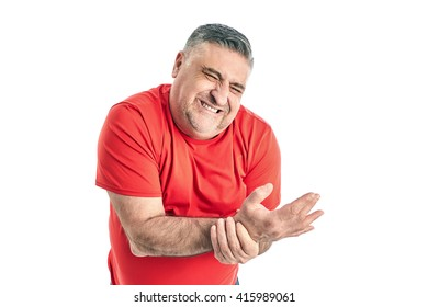 Man with knee pain. People, health-care and problem concept - unhappy man suffering. White background.