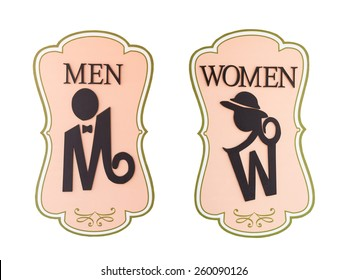 Man and a lady toilet sign on white background