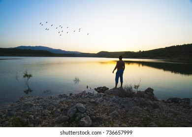 man in the lake