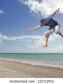 man landing on the beach