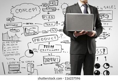 man with laptop against business strategy