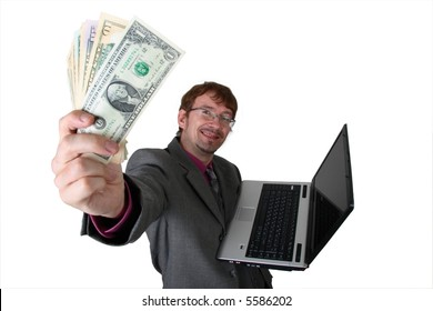 Man with laptop and dollars at whit background. short-focus, top view
