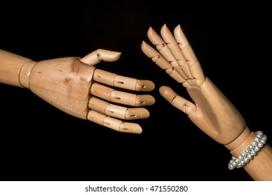 Man launches an aggressive hand, a woman's hand stop: stop the harassment. On black background. With copy space text.